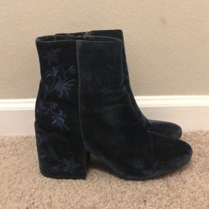 Kenneth Cole Blue Velvet Embroidered Boots